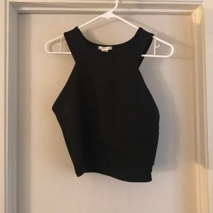 Black crop top with shear detail